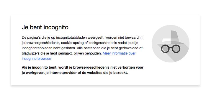 Incognito modus in Google Chrome